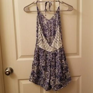 Blue and White Romper with Crocheted Back